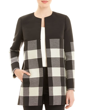Pria Checkered Long Coat