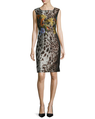 Savannah Sleeveless Floral-Print Sheath Dress, Espresso Multi
