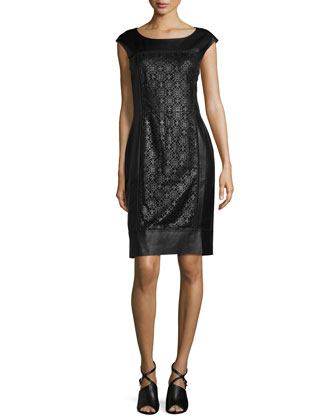 Lambskin Cutout Sheath Dress