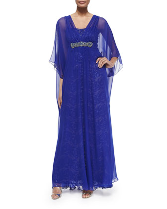 Caftan Dress W/ Sequined Underlay