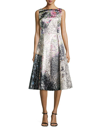 Tea-Length Jacquard Cocktail Dress