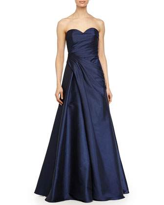 Strapless Sweetheart Draped Ball Gown