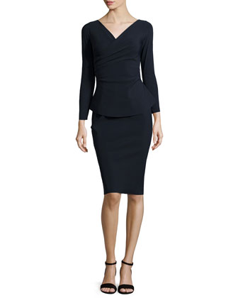 Clelia Long-Sleeve Peplum Faux-Wrap Dress