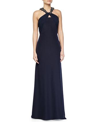 Jeweled-Knot-Neckline Gown W/ Train