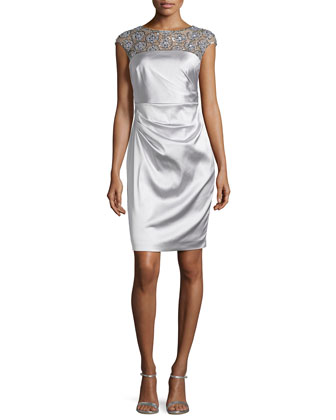 Satin Dress with Beaded Illusion Neckline