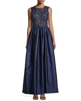 Beaded-Bodice Sleeveless Gown, Twilight