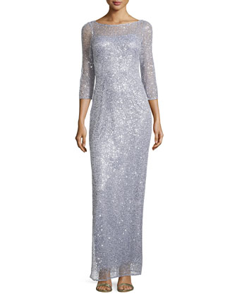 Sequined Lace Sheath Dress, Misty Blue