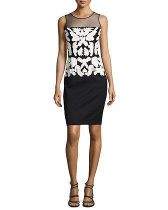 Floral-Embroidered Sleeveless Sheath Dress