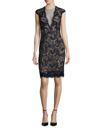 Plunging V-Neck Lace Dress, Midnight