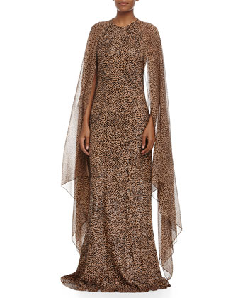Embroidered Leopard-Print Bias Gown, Suntan/Black