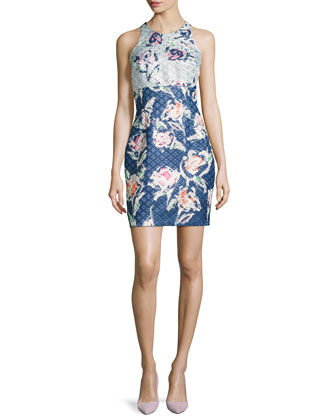 Floral-Brocade Cutout-Back Cocktail Dress