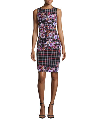 Floral & Plaid Open-Back Dress, Multi Colors