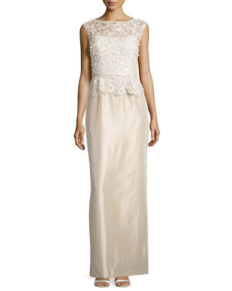 Sleeveless Embroidered Peplum Column Gown