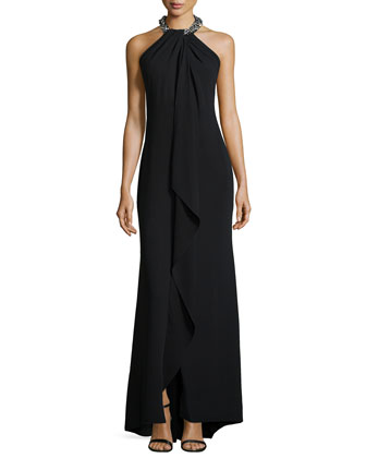 Beaded-Neck Toga Gown, Black