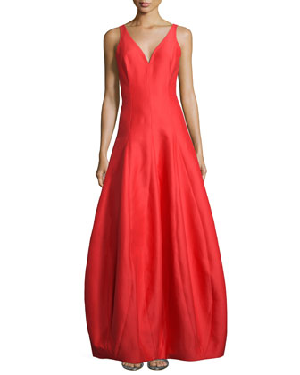 Sleeveless V-Neck Tulip Gown, Navy