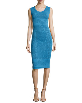 Floral-Embossed Sheath Dress, Boho Blue