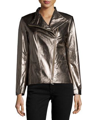 Bradley Metallic-Leather Jacket, Gunmetal