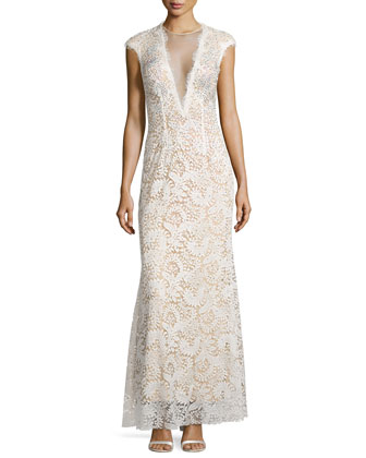 Lace-Overlay Cap-Sleeve Gown, Ivory