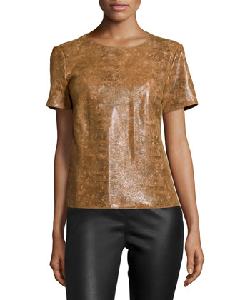 Morgan Short-Sleeve Leather Top, Ochre Multi