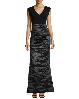 Cap-Sleeve Combo Gown