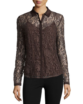 Haiden Long-Sleeve Lace Blouse, Espresso