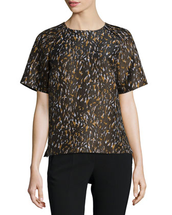 Clara Short-Sleeve Structured Blouse, Masala Multi