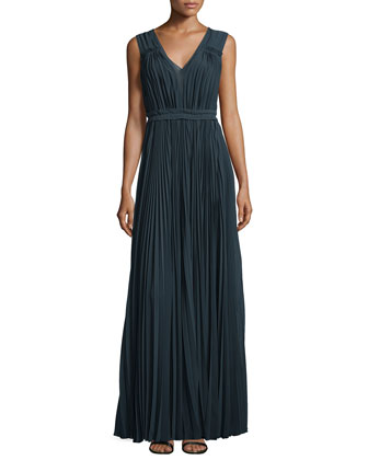Pleated Empire-Waist Gown, Deep Teal