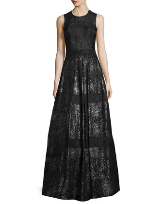 Foil-Lace Sleeveless Gown