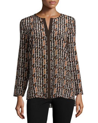 Opal Long-Sleeve Houndstooth-Print Top, Espresso Multi