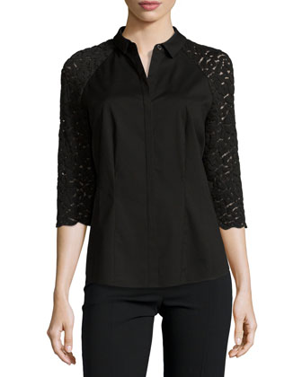 Charlotte 3/4-Lace Sleeve Blouse, Black