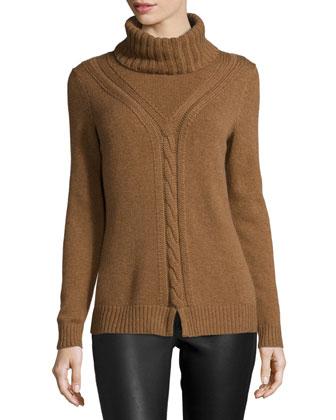 Long-Sleeve Turtleneck Cashmere Sweater, Coconut Melange