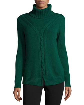Long-Sleeve Turtleneck Cashmere Sweater, Emerald