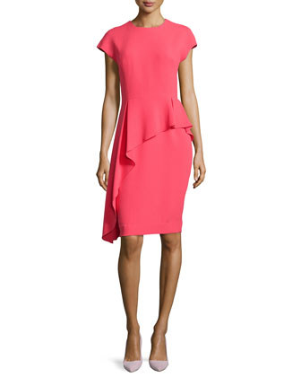 Asymmetric-Peplum Short-Sleeve Dress, Coral