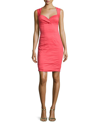 Sleeveless Ruched-Front Sheath Dress, Watermelon