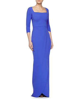 Amy 3/4-Sleeve Wrap-Skirt Gown