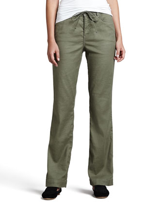 Lindsey Wide-Leg Linen Pants, Women's