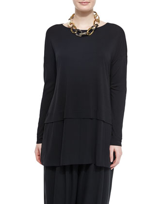 Silk Jersey Layered Boxy Tunic & Pleated Wide-Leg Silk Pants, Petite