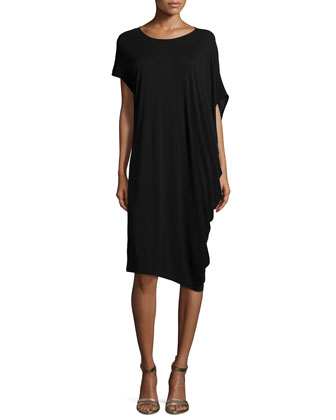Silk Jersey Asymmetric Dress, Women's