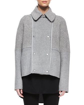 Sherpa Double-Breasted Boucle Wool Peacoat & Melange Ribbed Knit Dress
