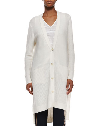 Directional-Rib Long Cashmere Cardigan, Textured Linen V-Neck Tee & ...