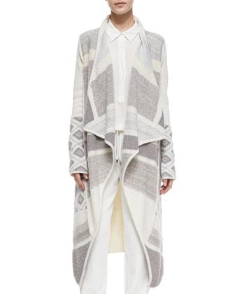 Textured Graphic Wool Cardigan