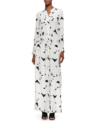 Long-Sleeve Printed Maxi Dress