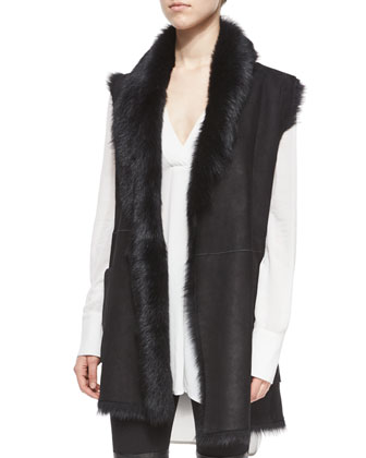 Shearling Fur Tie-Waist Vest & Long-Sleeve Printed Maxi Dress