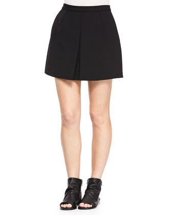 Front-Pleat A-Line Skirt, Black