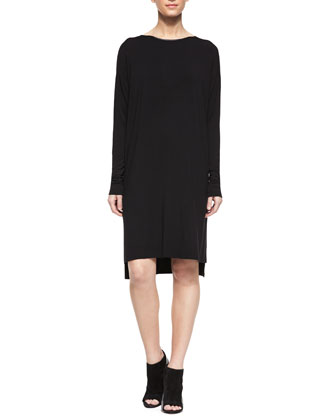 Faux-Leather-Trim T-Shirt Dress, Black