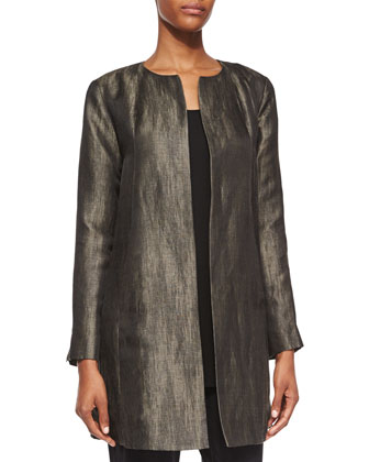 Long-Sleeve Herringbone Swing Jacket, Long Silk Jersey Tunic & Washable ...