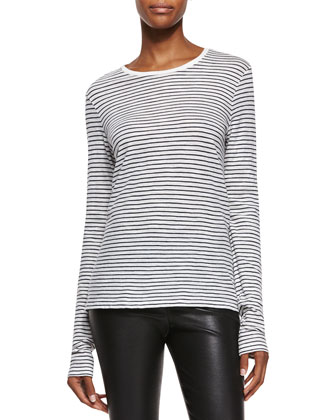 Asymmetrical Colorblock Leather Jacket, Feeder-Stripe Long-Sleeve Tee & ...