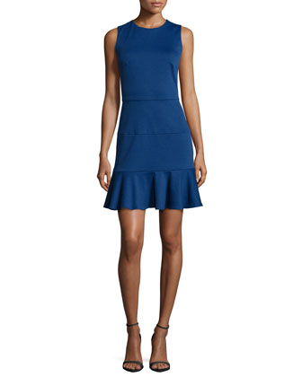 Sleeveless Fit-and-Flare Dress, Royal