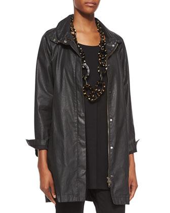 Waxed Twill A-line Jacket & Half-Sleeve Silk Jersey Tunic