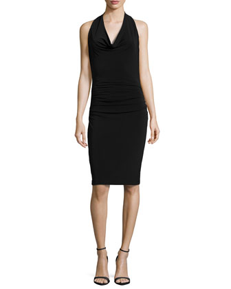 Sleeveless Ruched Dress, Black